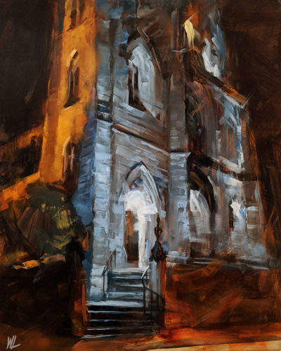 """Holy Rosary Cathedral,"" by William Liao 16 x 20 - oil $1235 Unframed"