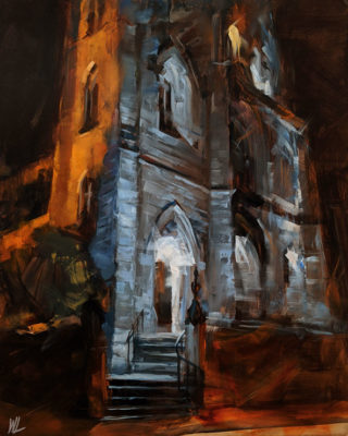 """""""Holy Rosary Cathedral,"""" by William Liao 16 x 20 - oil $1120 Unframed"""