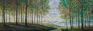 """SOLD """"Light Crossing"""" by Steve Coffey 20 x 60 – oil $3520 (thick canvas wrap)"""