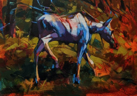 """Moose at Moose Lake,"" by Mike Svob 10 x 14 - acrylic $1060 Unframed"