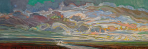 """SOLD """"Morning Drive"""" by Steve Coffey 12 x 36 – oil $2110 (thick canvas wrap)"""