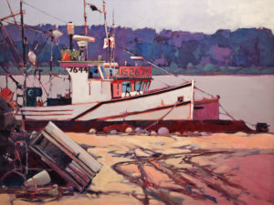 """Port Hood Fishboats,"" by Mike Svob 30 x 40 - acrylic $7015 Unframed"
