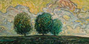 """The Three Trees,"" by Steve Coffey 10 x 20 - oil $1320 Unframed"