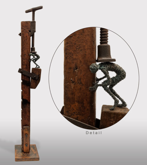 """""""Vise,"""" by Janis Woode Vintage vice, plate steel, copper wire, patina 36"""" (H) x 6"""" (L) x 6"""" (W) $3200"""