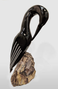 """Black Cormorant,"" by Herb Latreille 21"" (H) incl. base - Black belgian marble $3750"
