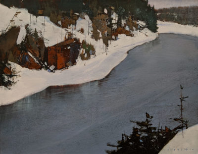 """""""French River, Winter,"""" by David Lidbetter 14 x 18 - oil $1475 Unframed"""