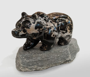 "SOLD ""Grizzly,"" by Herb Latreille 13"" (L) x 7 1/2"" (H) x 6"" (W) incl. base - Portoro macchia marble $2900"