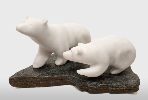 """Learning from Mom,"" by Herb Latreille 18"" (L) x 8 1/2"" (H) x 11"" (W) incl. base - Glacierite (B.C.) $2750"