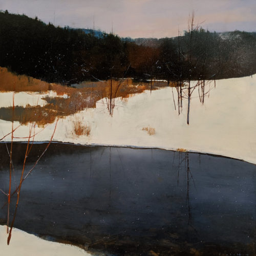 "SOLD ""Light Snow,"" by David Lidbetter 30 x 30 - oil $3375 Unframed"