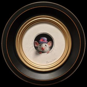 """SOLD """"Petite Souris 348″ (Little Mouse 348) by Marina Dieul 4"""" diameter plus frame (shown) – oil USD $900 Framed (approx. $1200 CAD Framed)"""