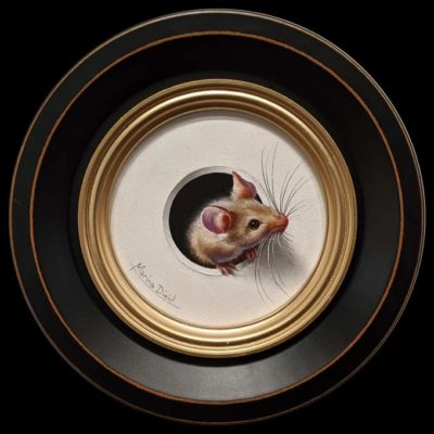 """""""Petite Souris 362″ (Little Mouse 362) by Marina Dieul 4"""" diameter plus frame (shown) – oil USD $900 Framed (approx. $1200 CAD Framed)"""