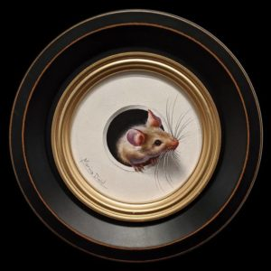 "SOLD ""Petite Souris 362″ (Little Mouse 362) by Marina Dieul 4"" diameter plus frame (shown) – oil USD $900 Framed (approx. $1200 CAD Framed)"