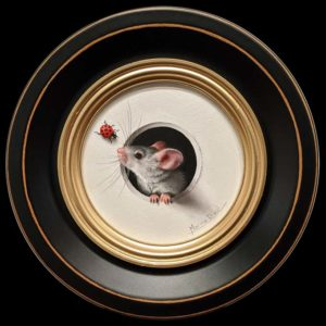 "SOLD ""Petite Souris 369″ (Little Mouse 369) by Marina Dieul 4"" diameter plus frame (shown) – oil USD $900 Framed (approx. $1200 CAD Framed)"