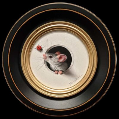 """SOLD """"Petite Souris 369″ (Little Mouse 369) by Marina Dieul 4"""" diameter plus frame (shown) – oil USD $900 Framed (approx. $1200 CAD Framed)"""