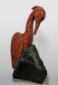 """Raspberry Heron,"" by Herb Latreille 23"" (H) incl. base - Raspberry alabaster $4350"