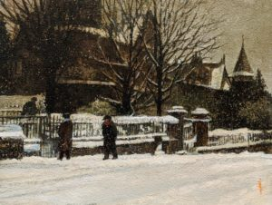 "SOLD ""Winter Chat,"" by Alan Wylie 9 x 12 - oil $1750 Unframed"