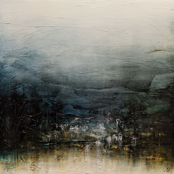 """""""Breathe and Imagine Glorious Places,"""" by Laura Harris 36 x 36 - acrylic $4995 (thick canvas wrap)"""
