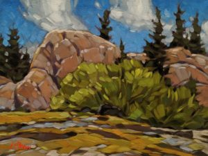 """Bush Outcrop,"" by Graeme Shaw 9 x 12 - oil $580 Unframed"