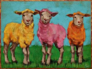 "SOLD ""Easter Dress Code,"" by Angie Rees 6 x 8 - acrylic $300 (unframed panel with 1 1/2"" edges)"