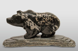 """Grizzly III,"" by Herb Latreille 15"" (L) x 8 1/2"" (H) incl. base - Portoro macchia marble $2900"