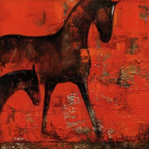 """Mare and Foal,"" by Lee Caufield 12 x 12 - acrylic $570 (thick canvas wrap)"