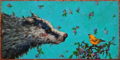 "SOLD ""Noses Are Red, Violets Are Blue,"" by Angie Rees 6 x 12 - acrylic $450 (unframed panel with 1 1/2"" edges)"