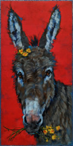 "SOLD ""What's Up Buttercup?"" by Angie Rees 10 x 20 - acrylic $1150 (unframed panel with 1 1/2"" edges)"