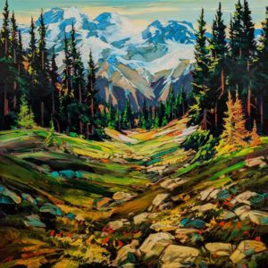 "SOLD ""Jumbo Journey,"" by David Langevin 30 x 30 - acrylic $3235 Unframed"
