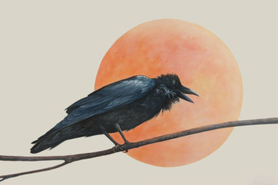 """""""Ozzy and the Strawberry Moon,"""" by Nikol Haskova 24 x 36 - acrylic $2600 (unframed panel with thick edges)"""