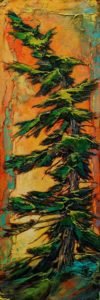 "SOLD ""Sparkling Fir,"" by David Langevin 9 x 27 - acrylic $1235 (panel with 2"" painted edges)"