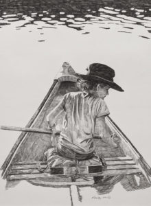 """""""Curious,"""" by Ken Kirkby 22 x 30 - graphite drawing $1800 custom framed"""