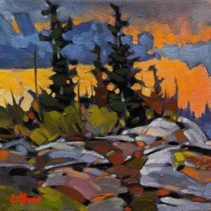 """SOLD """"End of July - Near Rae Edzo, N.W.T."""" by Graeme Shaw 6 x 6 - oil $440 (artwork continues onto edges of canvas)"""