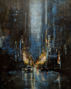 """SOLD """"Granville Street,"""" by William Liao 24 x 30 - acrylic $2600 Unframed"""
