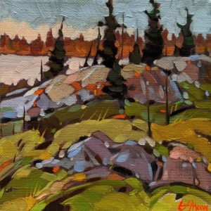 """""""Hidden Lake (from Old Road to Yellowknife)"""" by Graeme Shaw 6 x 6 - oil $440 (artwork continues onto edges of canvas)"""