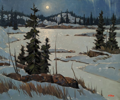 """Ingraham Trail Eve,"" by Graeme Shaw 20 x 24 - oil $1990 (artwork continues onto edges of canvas)"