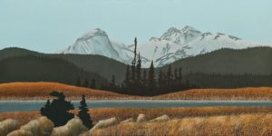 "SOLD ""Snow in the High Country II"" (commission) by Ken Kirkby 30 x 60 – oil $5000 Unframed"
