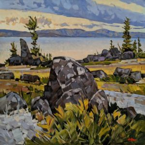 """""""Spirit Land (from Courageous Lake, N.W.T.)"""" by Graeme Shaw 30 x 30 - oil $3420 (artwork continues onto edges of canvas)"""