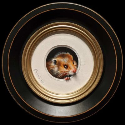 """Hamster 3"" by Marina Dieul 4"" diameter plus frame (shown) – oil USD $900 Framed (approx. $1200 CAD Framed)"