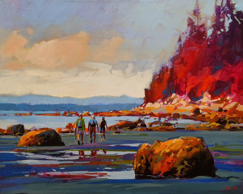 "SOLD ""Low Tide Passing, White Rock, B.C."" by Mike Svob 16 x 20 - acrylic $2200 Unframed"