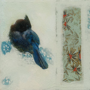 """SOLD """"A Moment of Solitude,"""" by Nikol Haskova 6 x 6 - mixed media, high-gloss finish $400 (unframed panel with thick edges)"""