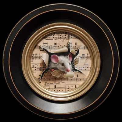 """""""Petite Souris 396″ (Little Mouse 396) by Marina Dieul 4"""" diameter plus frame (shown) – oil USD $900 Framed (approx. $1200 CAD Framed)"""