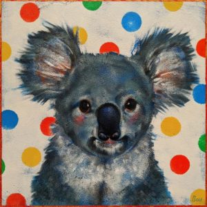 """Waffles,"" by Angie Rees 10 x 10 - acrylic $675 (unframed panel with 1 1/2"" edges)"