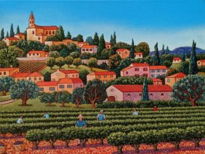 "SOLD ""The Wine Grapes Harvest,"" by Michael Stockdale 12 x 16 - acrylic $695 Unframed"