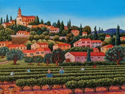 """SOLD """"The Wine Grapes Harvest,"""" by Michael Stockdale 12 x 16 - acrylic $695 Unframed"""