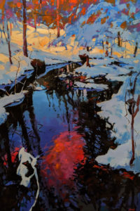 "SOLD ""A Winter Repose, New Hampshire, U.S.A."" by Mike Svob 24 x 36 - acrylic $5145 Unframed"