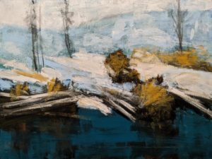 """Bord de ruisseau en janvier"" (Riverside in January) by Robert P. Roy 30 x 40 - acrylic $2650 Unframed"