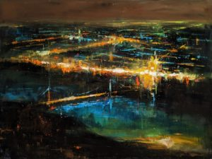 """""""Hustle and Flow,"""" by William Liao 36 x 48 - acrylic $5725 (thick canvas wrap)"""