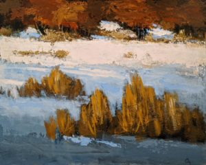 """Roseaux dans la neige"" (Reeds in the Snow) by Robert P. Roy 24 x 30 - acrylic $1600 Unframed"
