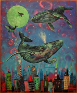 "SOLD ""Whale Watching Series: Thar She Blows,"" by Angie Rees 20 x 24 - acrylic $1875 (unframed panel with 1 1/2"" edges)"
