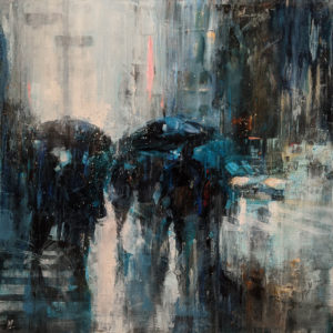 """""""Showers on Broadway,"""" by William Liao 36 x 36 - acrylic $4300 (thick canvas wrap)"""